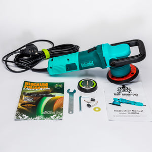 Buff Daddy Evo - DAS-8 (upgraded DAS-6) orbital machine polisher - 8mm throw, inc 2x backing plates, bag (900W, UK plug 240V)