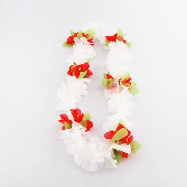Garland/Lei mirror hanger - white/red (ragged) with leaves/flower - medium/large size