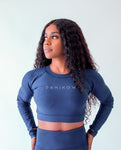 Flex Navy Long Sleeve Crop Top