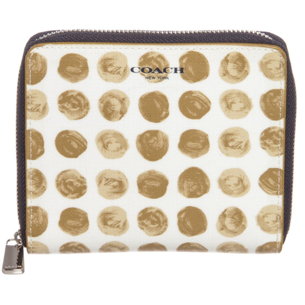 Coach White Beige Blue Canvas Leather Polka Dot Zipper Wallet - Maison Nearby