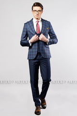Costum BUSINESS CASUAL bărbați albastru cobalt