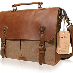 Lifewit 14-15.6 Inch Leather Satchel Messenger Laptop Shoulder Bag Canvas Briefcase (14'' Coffee):