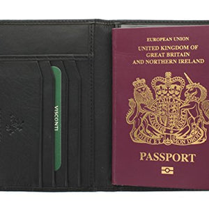 Visconti Polo Collection Leather Passport Holder RFID Blocking 2201 Black