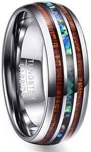 NUNCAD 8mm Tungsten Carbide Ring Abalone Shell/Imitated Opal and Hawaiian Koa Wood Wedding Band for Men Women Comfort Fit Size H½-Z+5