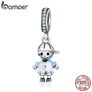 Sterling Silver Couple Little Pendant Charm fit Bracelet DIY Jewellery