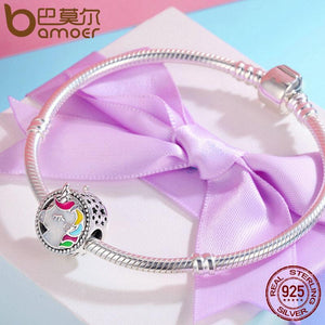 Sterling Silver lovely Unicorn Color Enamel Beads fit Bracelet