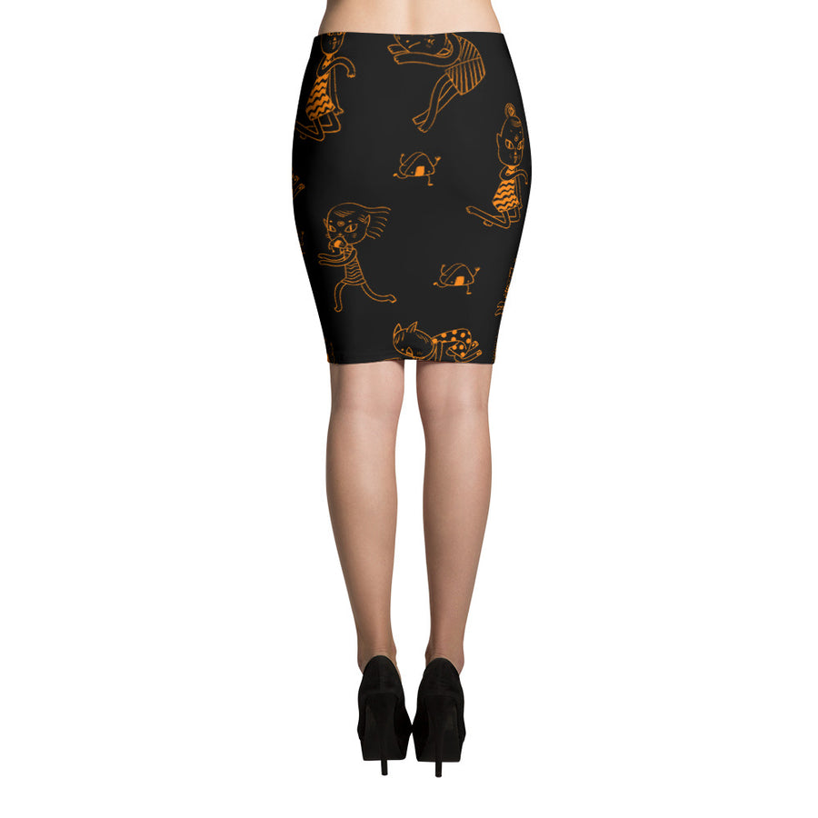 Tokyo Strays Pencil Skirt in Faire Fire
