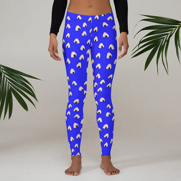 Onigiri Boy ladies Leggings in Electric Blue