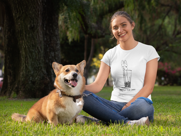 Bubble Tea Corgi Ladies' short sleeve t-shirt