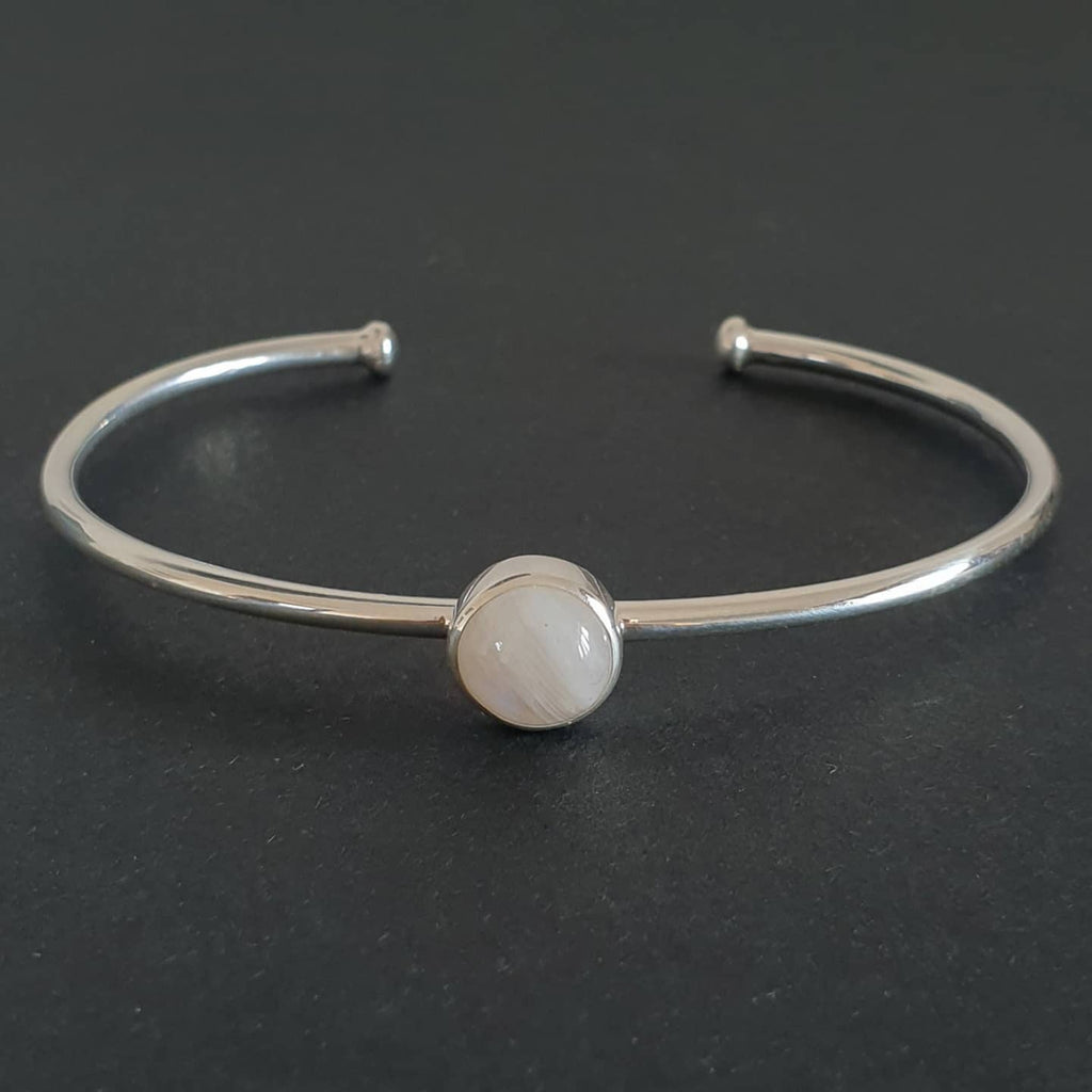 Batukaang Bangle Bali Silver 925 Rainbow Moonstone