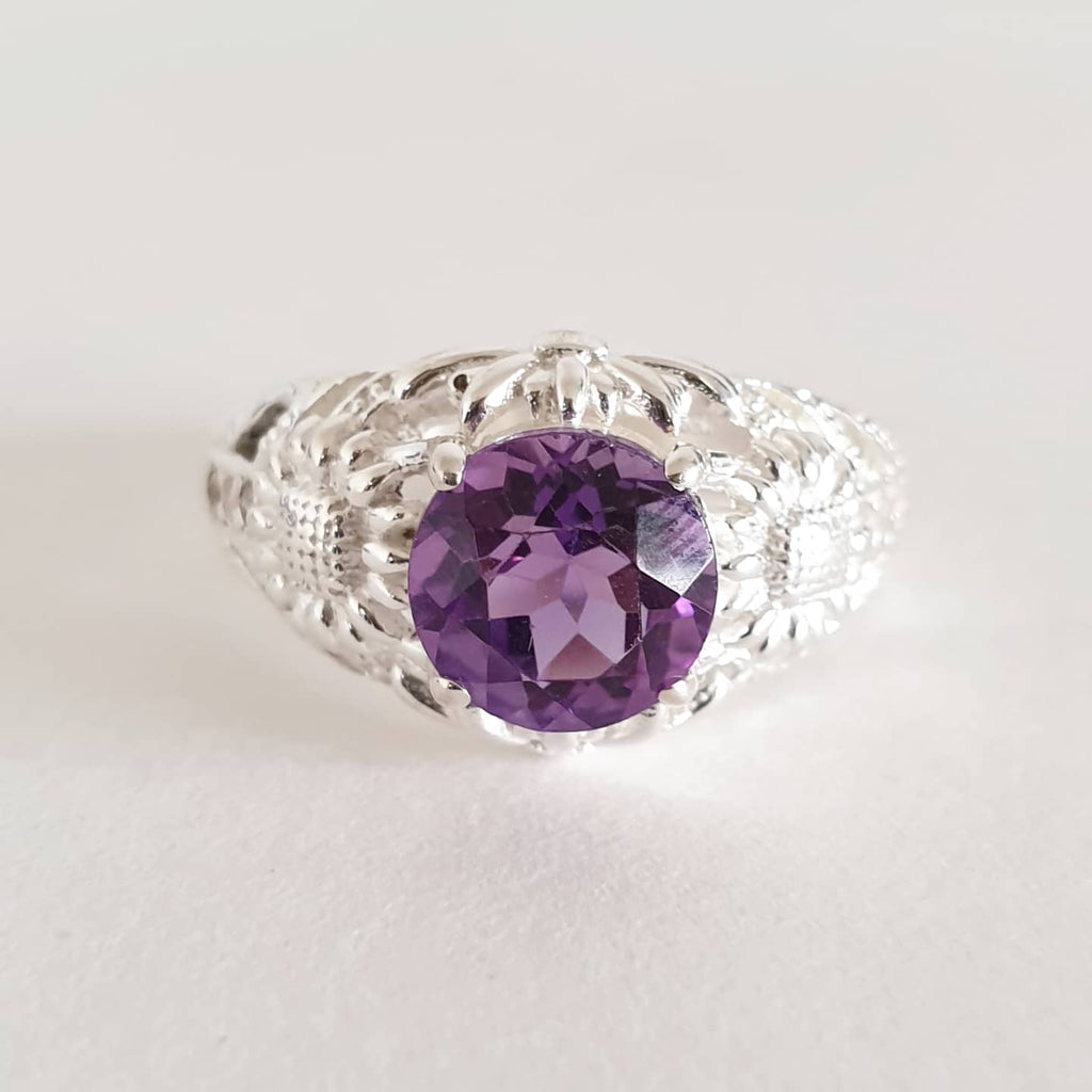 Domplet Ring Bali Silver 925 Amethyst Stone