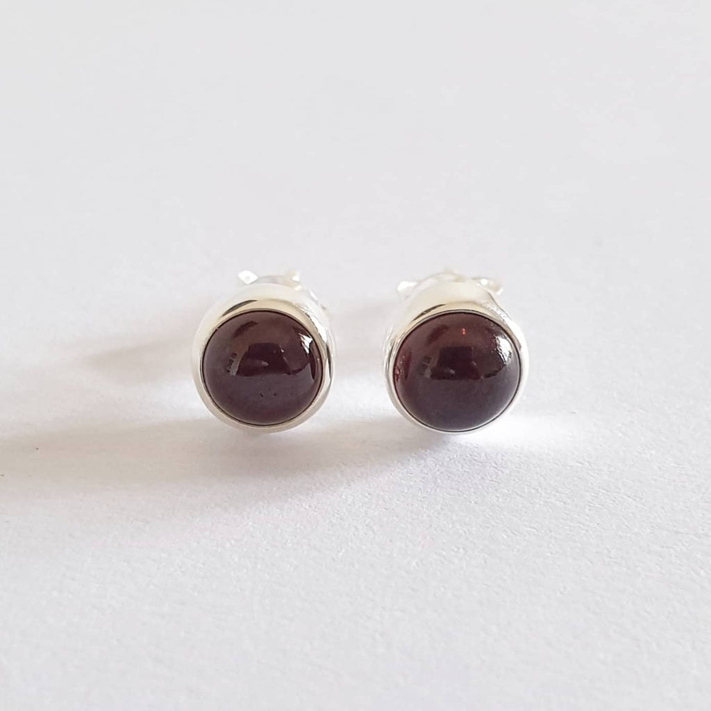 Sukunan Earrings Bali Silver 925 Garnet Stone