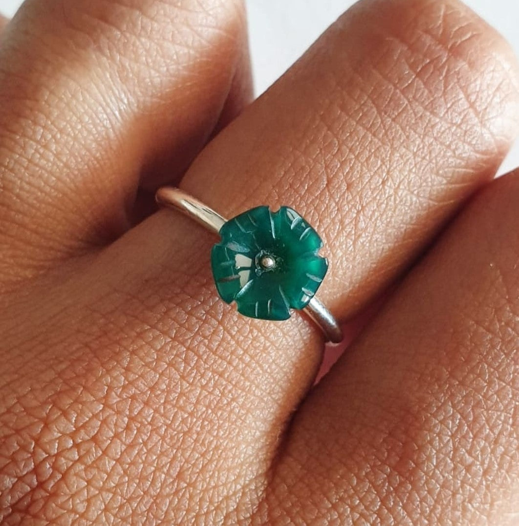 Tukad Citarum Ring Bali Silver 925 Green Quartz Stone