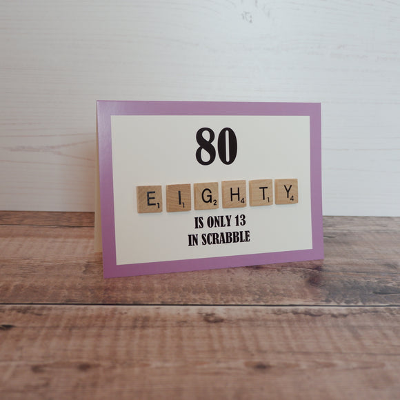 Scrabble 80th Birthday Card