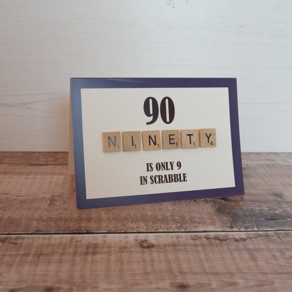 Scrabble 90th Birthday Card