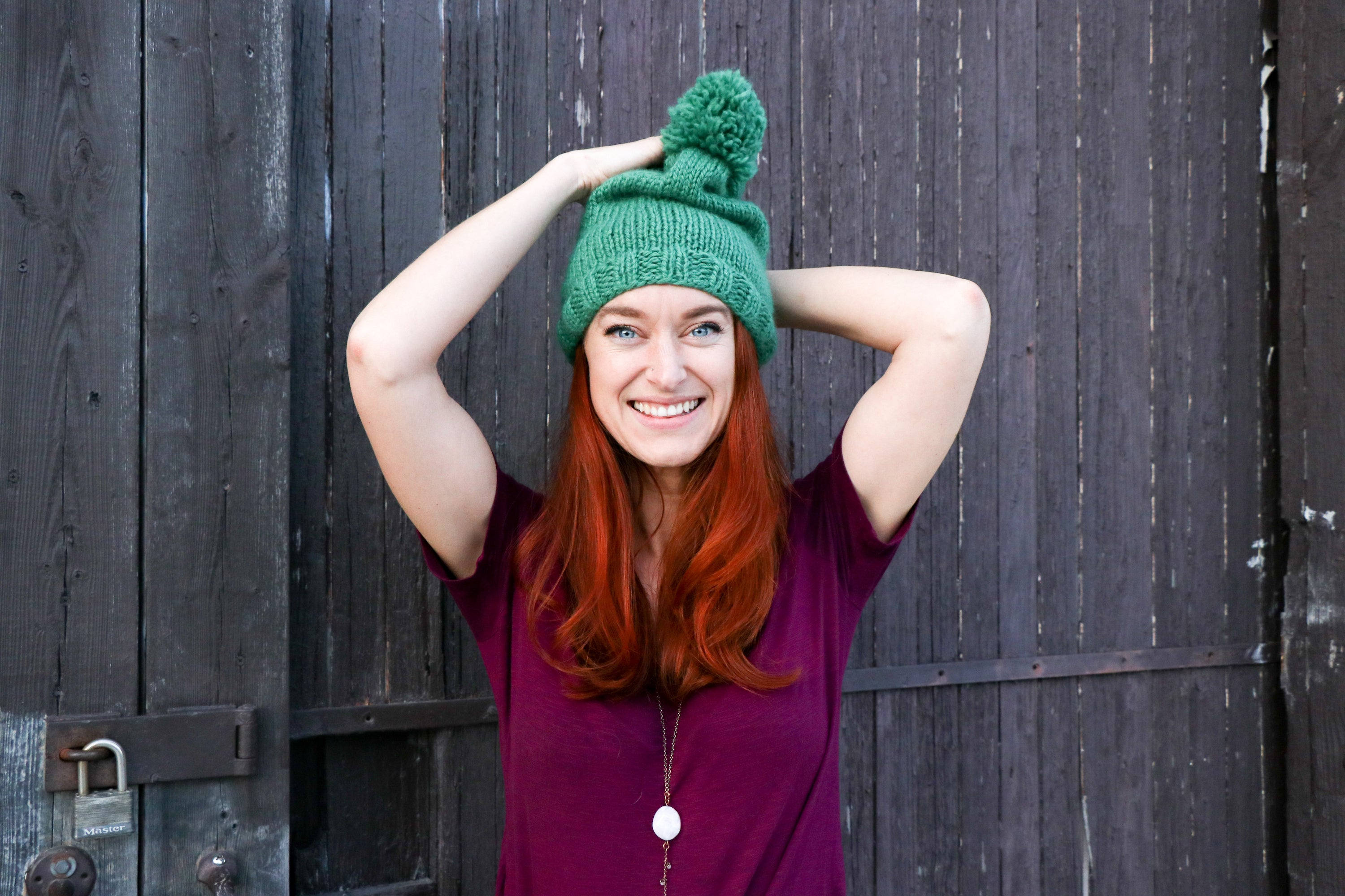 The Pip : Hand Knit Slouchy Hat with Pom Pom