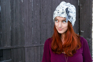 The Daisy : Hand Knit Slouchy Hat with Ribbon