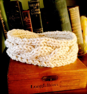 Chunky Cable Hand Knit Headband / Earwarmer.