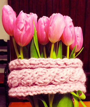 Pink Chunky Cable Hand Knit Headband / Earwarmer. Beautiful shade of pink!