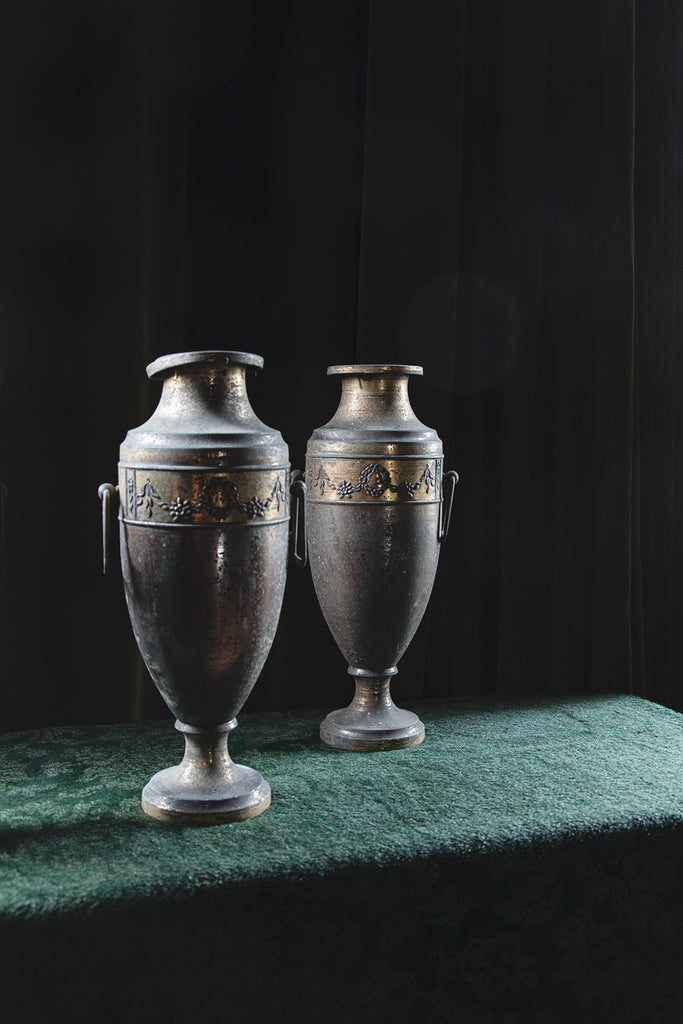 dECORATIVE METAL URNS