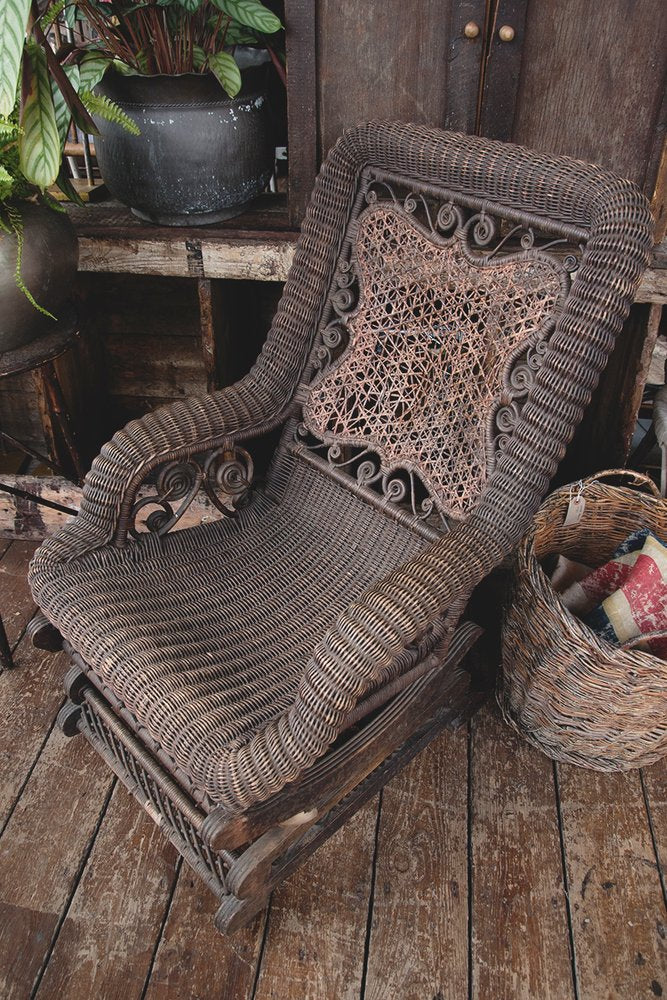 Antique American armchair, Wicker chair. American Rocker. Patina. Porch Chair. American antiques Bristol