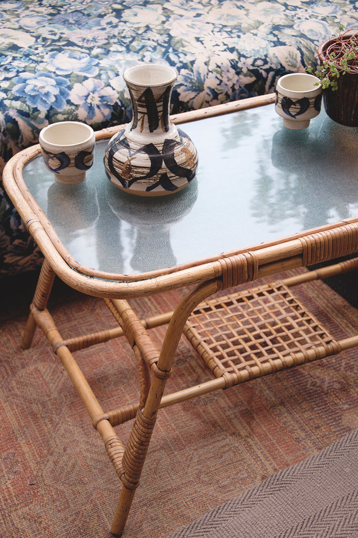 Vintage bamboo coffee table. Interior stylist Bristol. Cassie Nicholas Studios