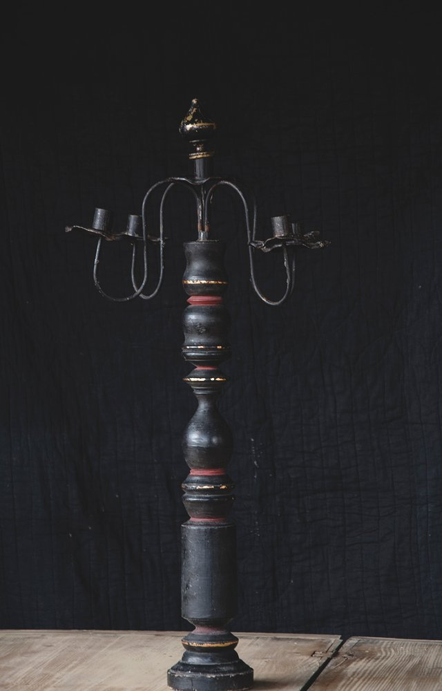 Ebonised antiques Bristol. Vintage candlestick. Interior design and interior styling