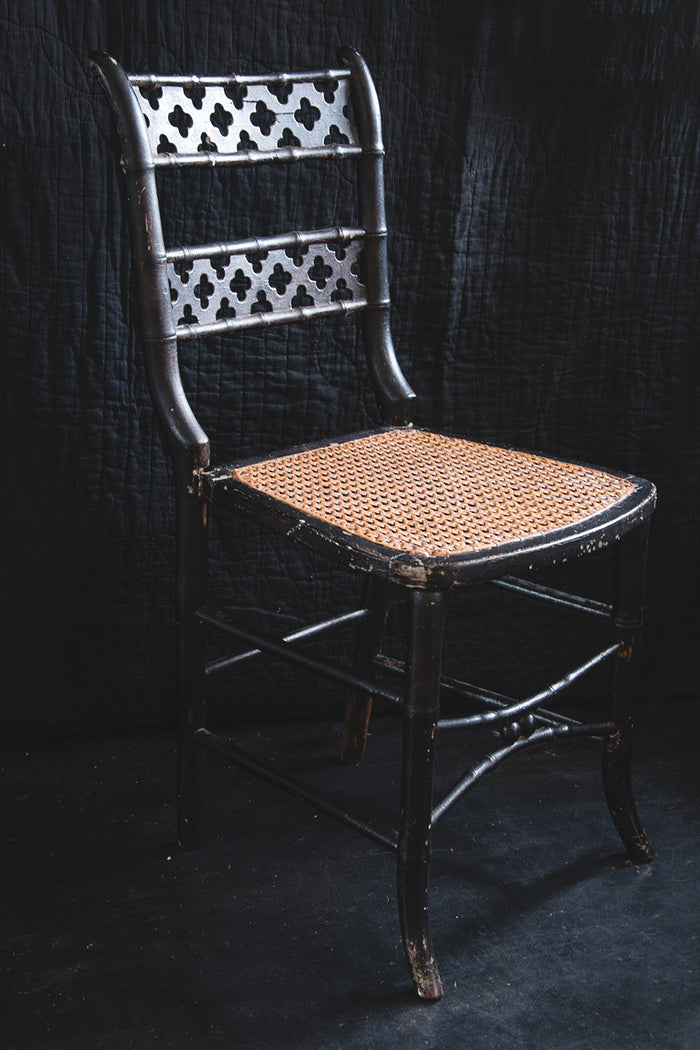 Ebonised Victorian Cane Chair