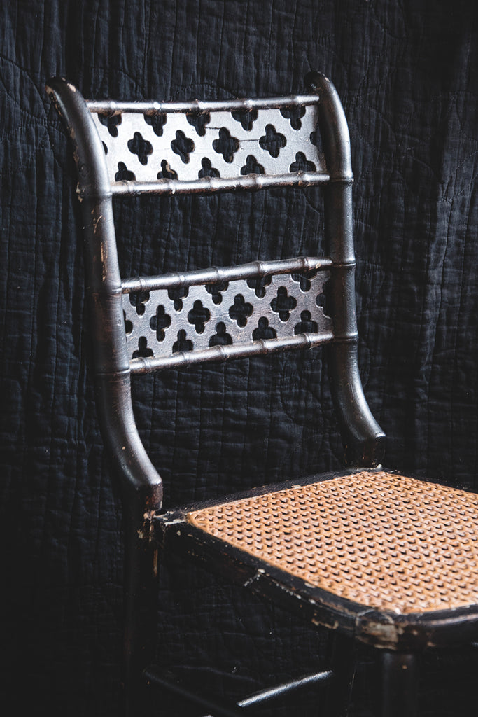 Ebonised Victorian Cane Chair. Decorative antiques and homewares Bristol