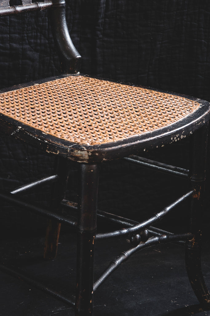 Ebonised Victorian Cane Chair. Vintage Wicker Seating