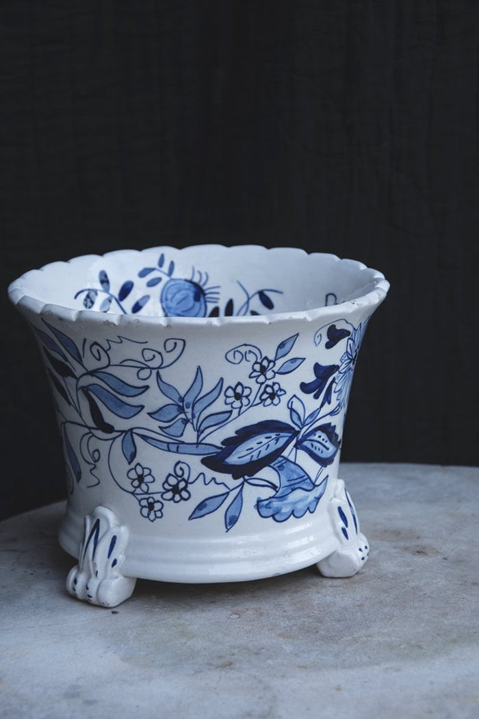 Decorative blue and white plant pot