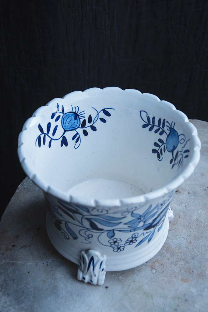 Blue and white plant pot