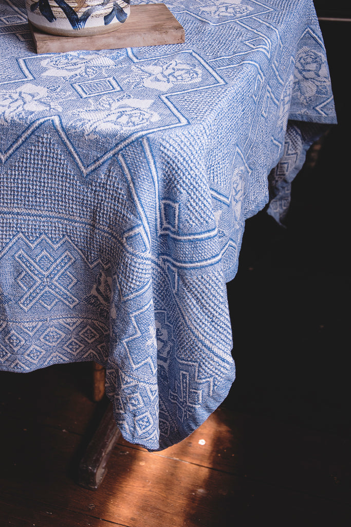 Vintage Blue and White Cotton Tablecloth. Decorative textiles interiors design Bristol