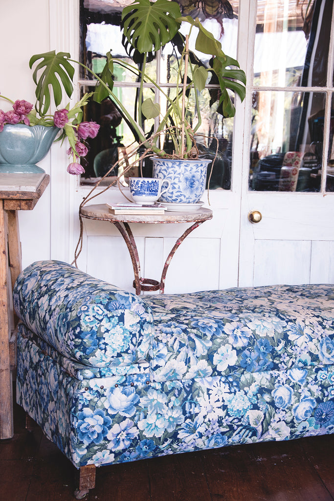 Upholstered Antique Ottoman in Blue and white fabric. Dig Haushizzle Cassie Nicholas Bristol. Antique Shop