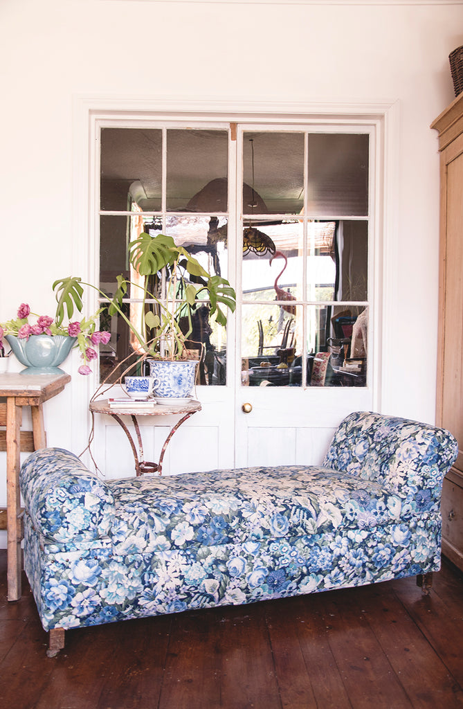Upholstered Antique Ottoman in Blue and white fabric.Home storage  Dig Haushizzle Cassie Nicholas Bristol. Antique Shop.