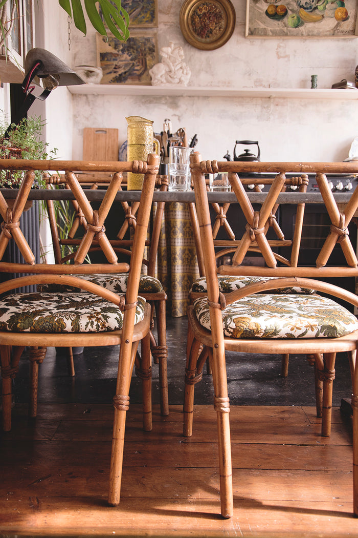 Lusty and Sons' faux bamboo early 20th century dining chairs.Interior design Bristol Cassie Nicholas