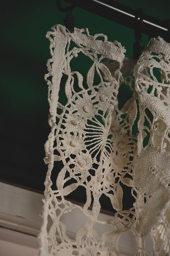 Antique Lace and Crochet Curtain.Decorative antiques and interior design Cassie Nicholas Studios