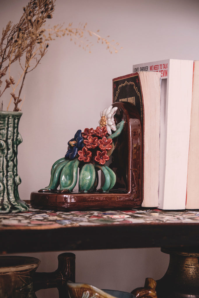 Flowered vintage ceramic bookends