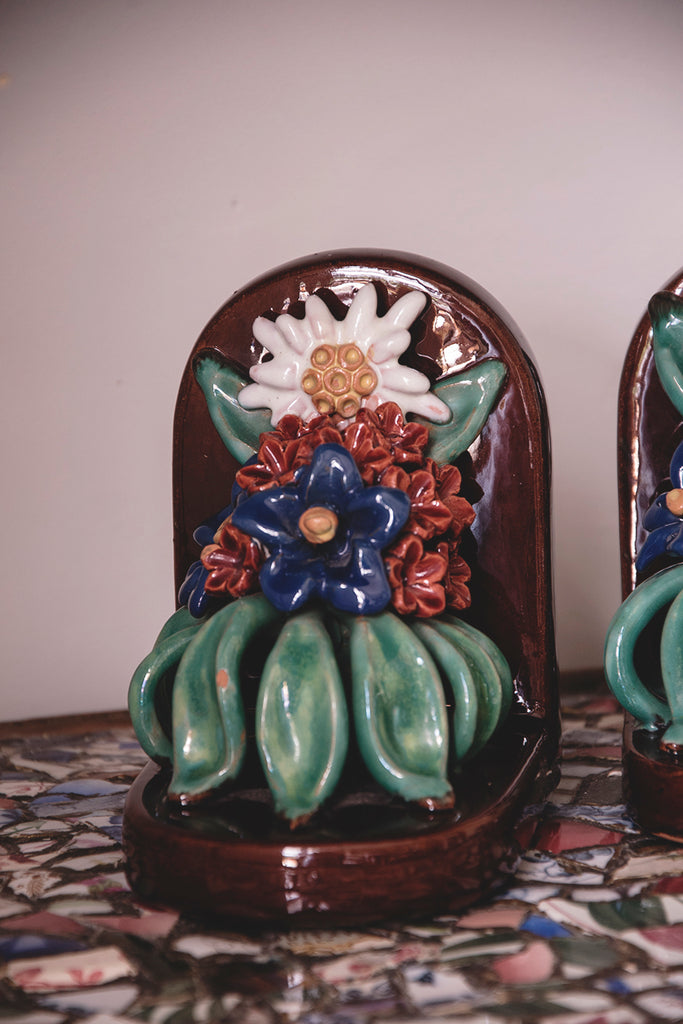 decorative colourful ceramic bookends