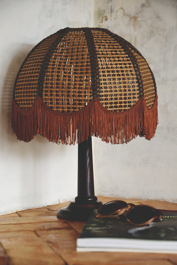 Side table lamp with original cane shade with tassels. Decorative antiques Bristol