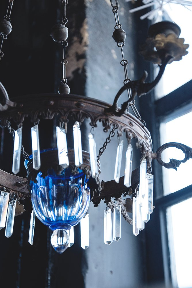 Hanging Candelabra Antique lighting. Prop Hire Bristol