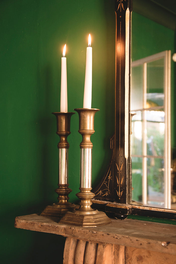 Silver Plated and Brass Candlesticks