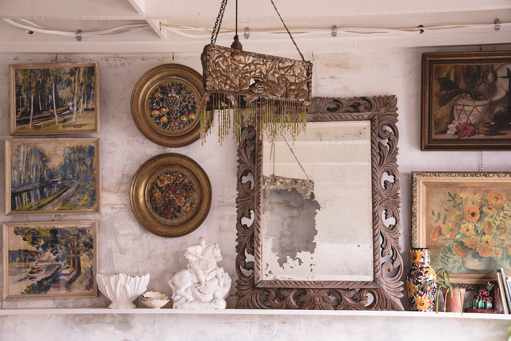 Foxed Mirror With Carved Wood Frame
