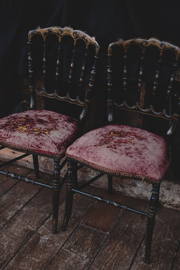 Ebonised Pair of victorian chairs. Faded velvet seats. Decorative antique styling Bristol