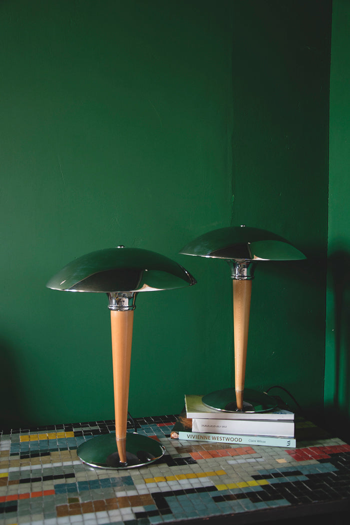 Pair of Chrome and Wood Table Lamps