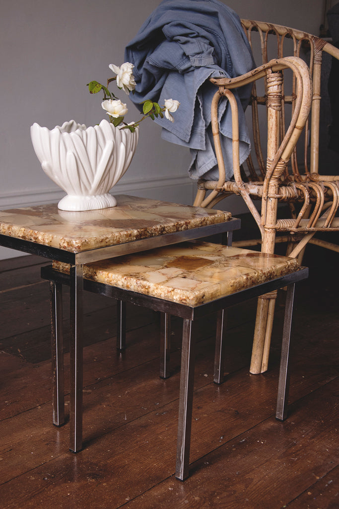 pair of vintage resin and chrome side tables