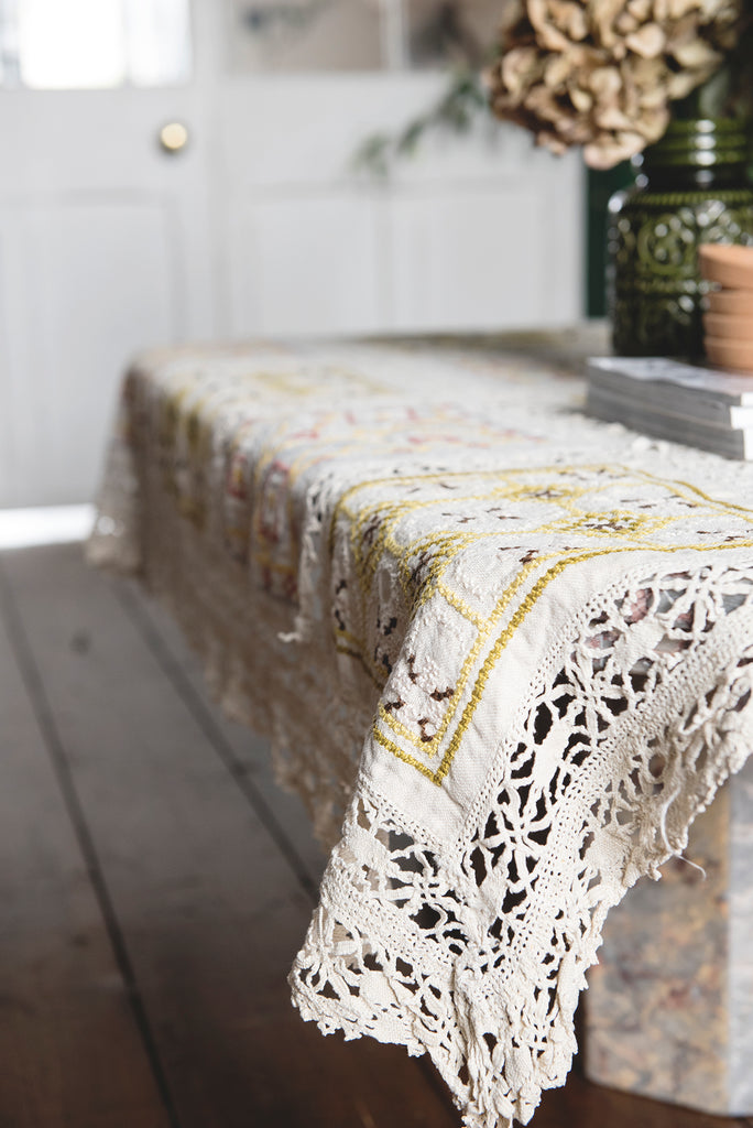 Crochet and Embroidery Tablecloth