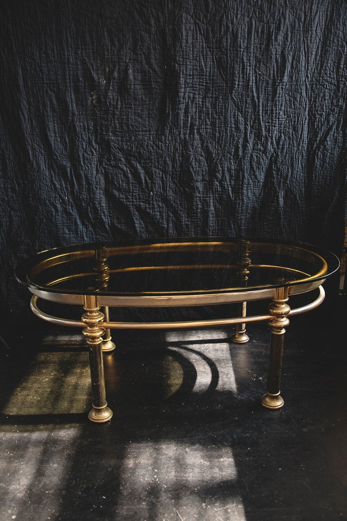 Vintage Coffee Table, Brass and Glass Table. Vintage decor and styling Bristol