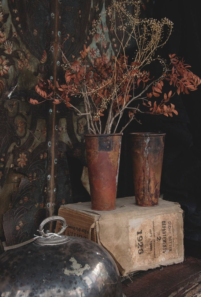 Copper vases with great patina. Flowers and floristry in Bristol. Cassie Nicholas Interiors