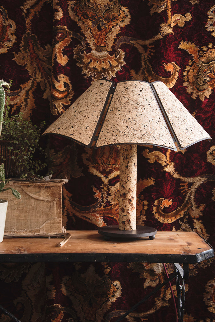 Sustainable cork table lamp. Interior designer Bristol. Cassie Nicholas Studios